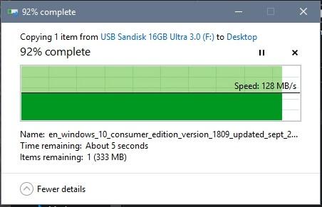 Kết quả test tốc độ đọc USB 16G SanDisk SDCZ48-U46 USB 3.0 thủ công