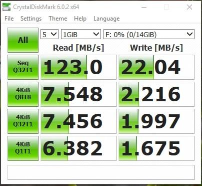 Kết quả test tốc độc USB 16G SanDisk SDCZ48 U46 USB 3.0 bằng Crystal Disk