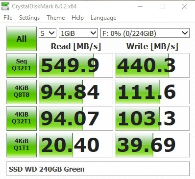 SSD Western Digital 240 GB Green Tốc độ đọc ghi CrystaldiskMark Tin học Đại Việt