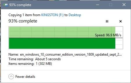 Test tốc độ đọc USB 16GB Kingston Datatraveler DT03 thủ công