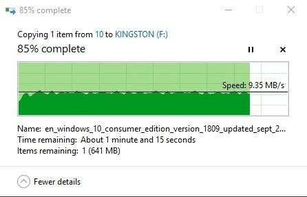 Test tốc độ ghi USB 16GB Kingston Datatraveler DT03