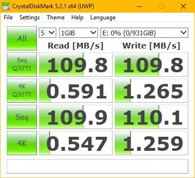 Ổ cứng di động 1TB Western Digital My Passport Tin học Đại Việt speed test Crystaldisk