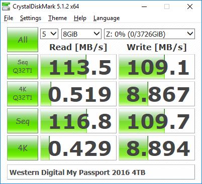 Ổ cứng di động 4TB Western Digital My Passport Tin học Đại Việt speed test Crystaldisk