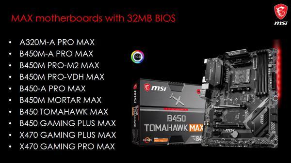 mainboard msi max 32 MB bios A320 B450 X470 Tin hoc Dai Viet