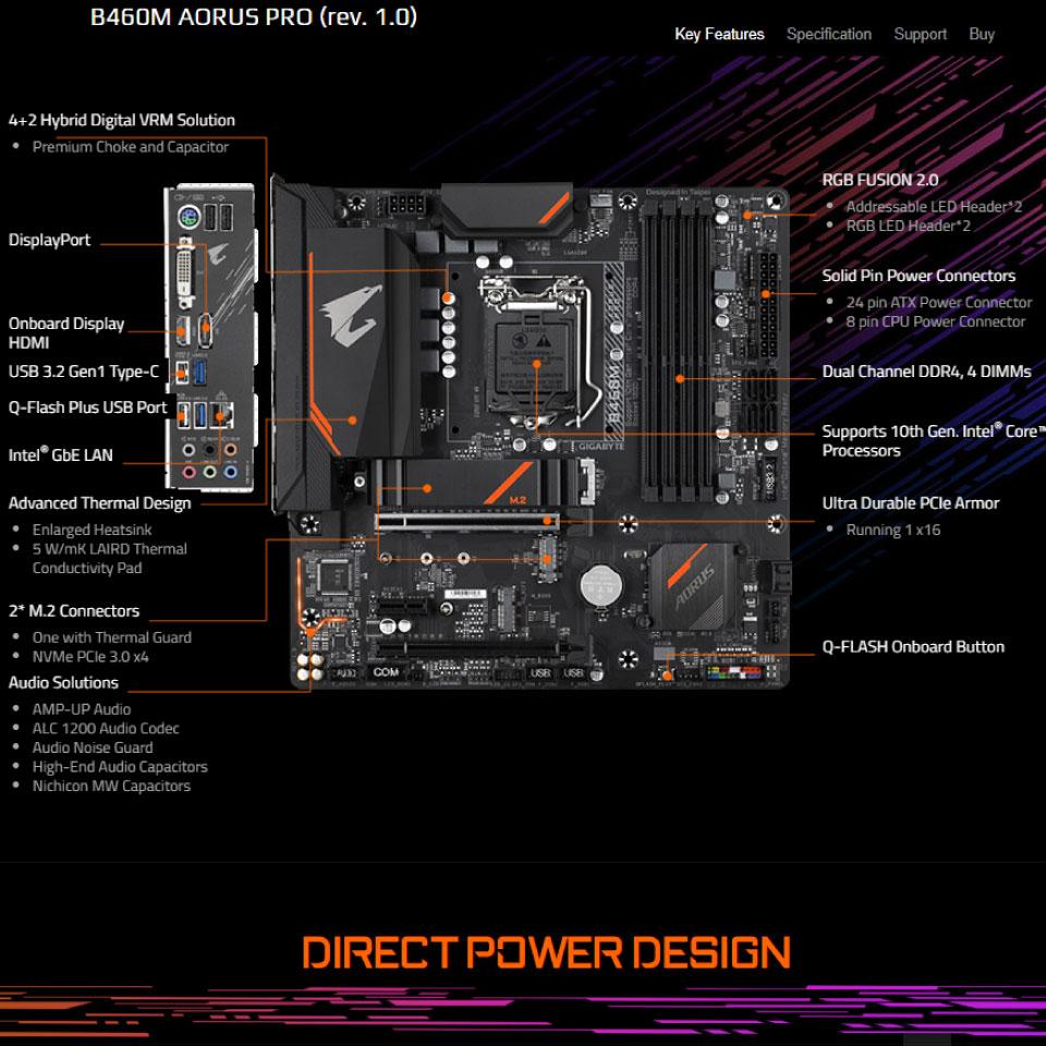 Mainboard Gigabyte B460M Aorus Pro socket LGA 1200 cho Intel Gen 10 Comet Lake 3