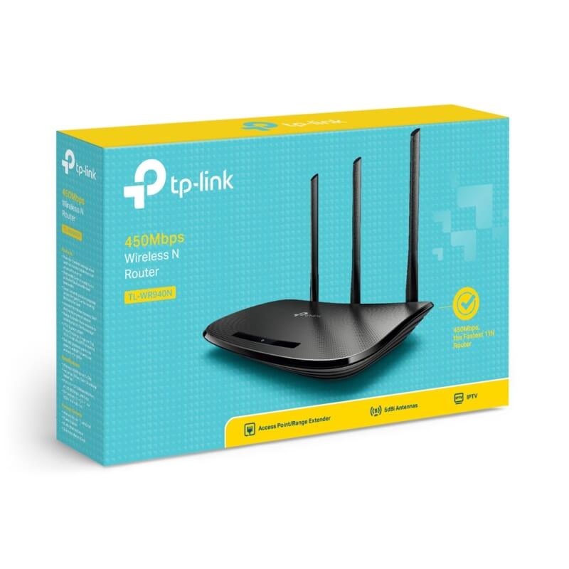 Router phát wifi TP Link TL WR940N chuẩn N 450 Mbps 3 ăng ten THDV 4