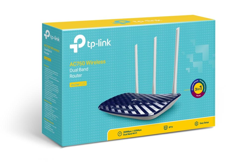 Router wifi băng tần kép TP Link AC750 Archer C20 2
