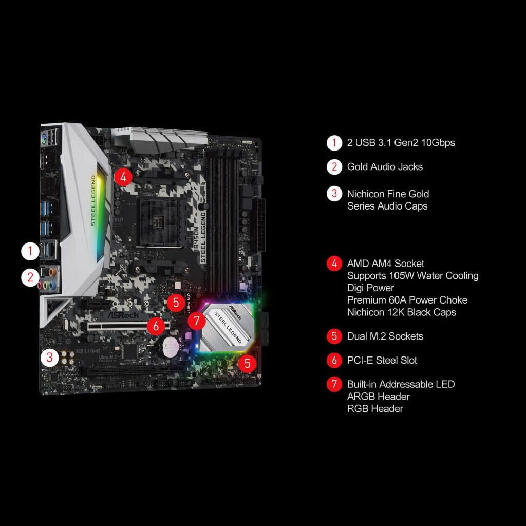 Mainboard Asrock B450M Steel Legend Socket AMD AM4 3
