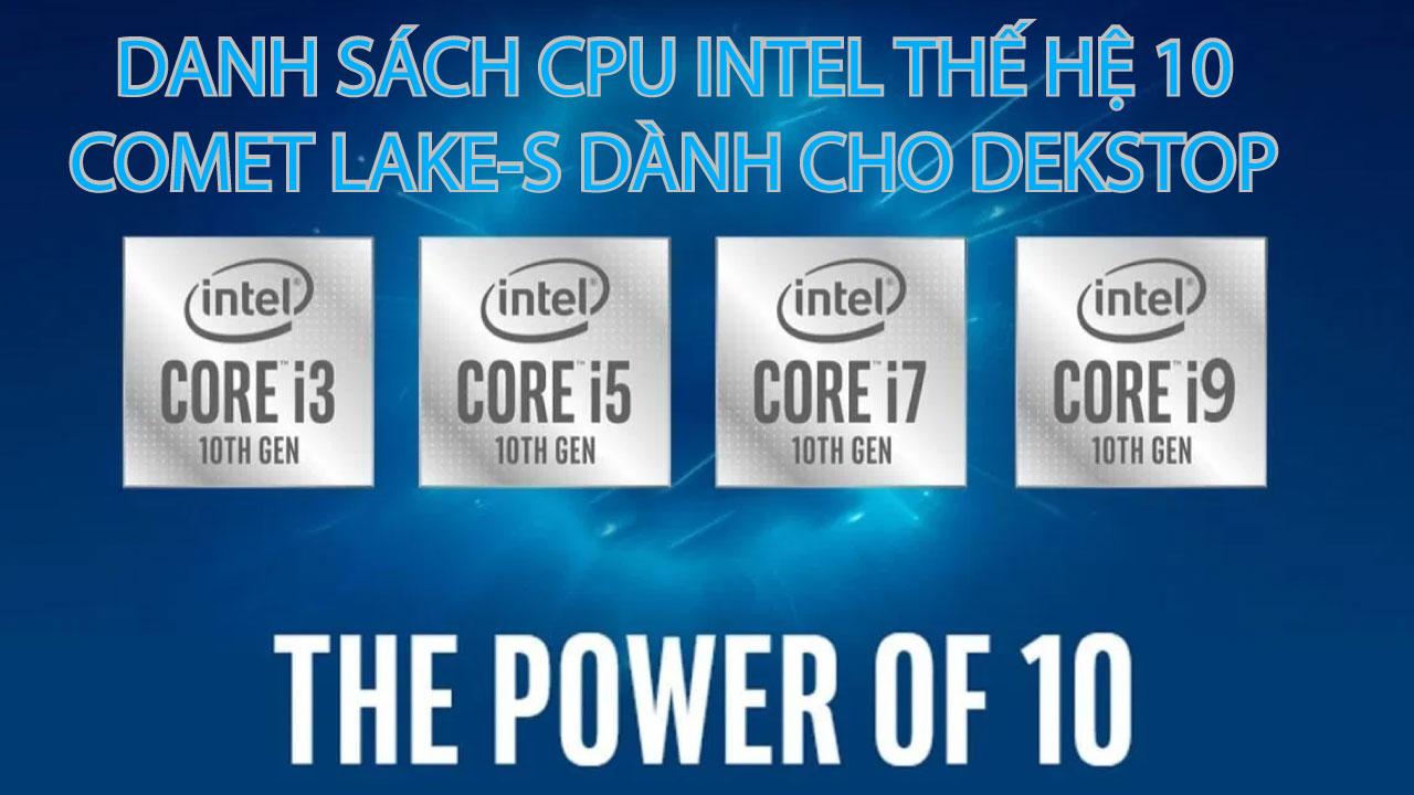 danh sach cpu intel the he 10 danh cho desktop