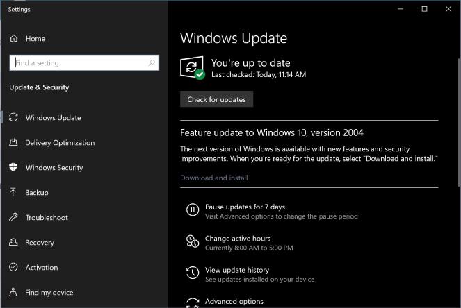 update windows 10 2004 1 Tin Học Đại Việt