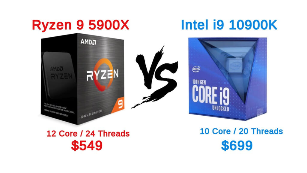 So Sanh Hieu Nang AMD Ryzen 9 5900X va Intel Core I9 10900K