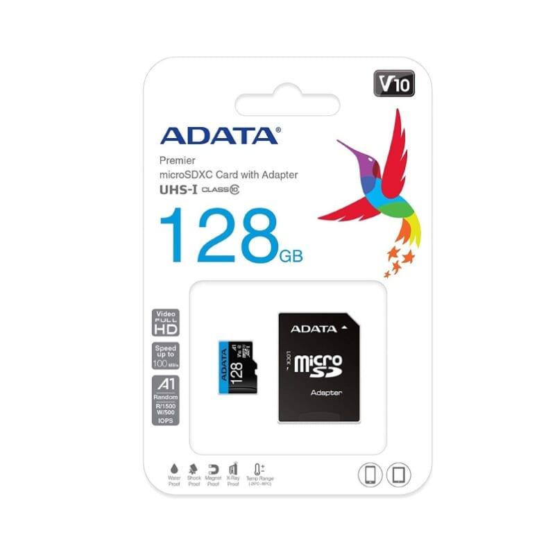 The nho microSD ADATA 128GB UHS I CLASS10 A1 AUSDX64GUICL10A1 RA1 1