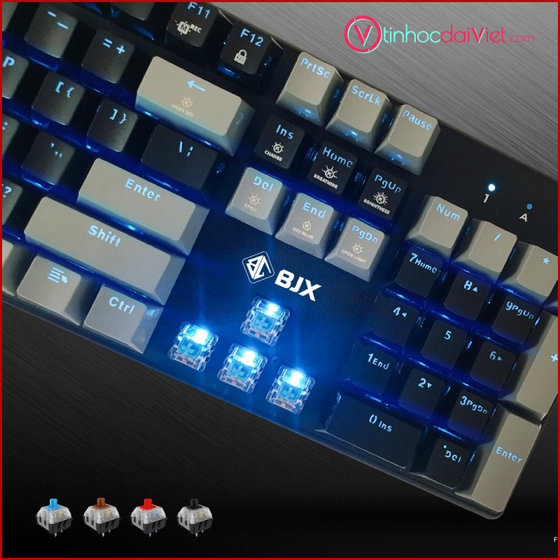 Ban Phim Co Gaming BJX KM9 Full Size Red Switch Blue Switch Mau Den 3