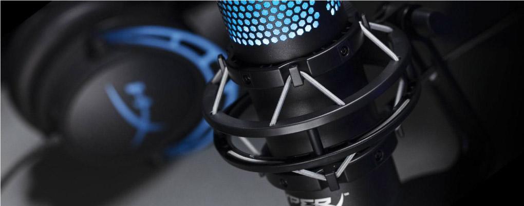 Microphone Kingston HyperX Quadcast Gaming Black voi gia do chong rung