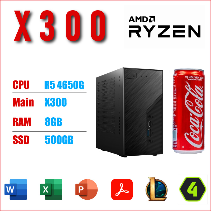 May Tinh Van Phong THDV AMD Desk Mini X300